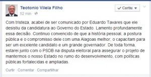 Teo Vilela anuncio facebook sobre Eduardo Tavares