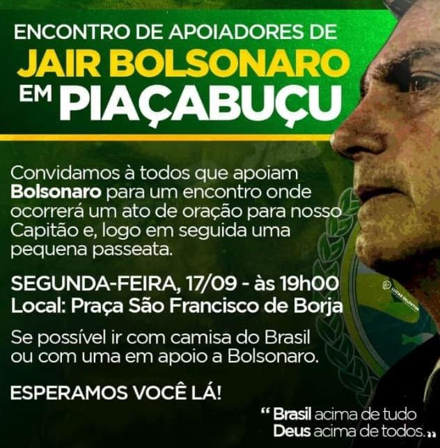 Apoiadores de Bolsonaro realizam ato de apoio na noite desta segunda-feira (17), em Piaçabuçu